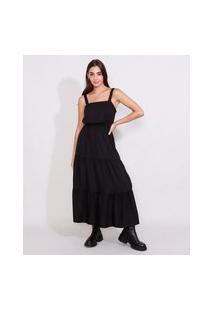 Vestido Feminino Longo Com Recortes Alça Média Preto
