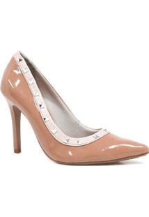 Sapato Via Marte Scarpin Metais Spike - Feminino-Bege