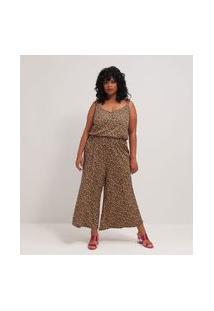 Macacão Pantacourt Estampado Curve & Plus Size | Ashua Curve E Plus Size | Preto | G