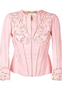 Versace Collection Jaqueta De Couro - Rosa