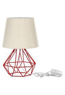 Abajur Diamante Dome Bege Com Aramado Vermelho