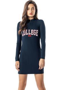 Vestido Azul Marinho College Curto Canelado
