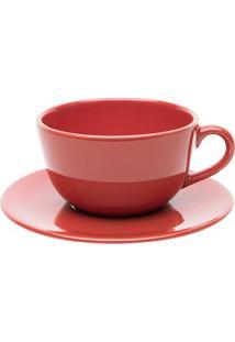Xícara De Chá Com Pires Oxford Unni Vermelha 200Ml
