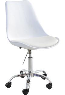 Cadeira Luisa Branca Rodizio Cromada Rivatti Móveis