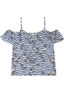 Blusa Feminina Em Tecido De Viscose Estampada Com Detalhe Open Shoulder
