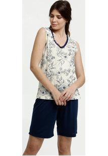 Pijama Feminino Estampa Floral Sem Manga Marisa