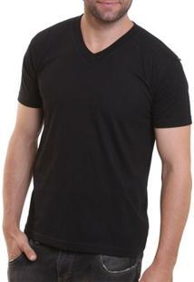 Camiseta Masculina Oitavo Ato Decote V Lisa - Masculino-Preto