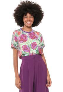 Camiseta Colcci Floral Verde/Rosa
