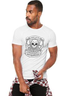 Camiseta Fiveblu Manga Curta Skull Branca