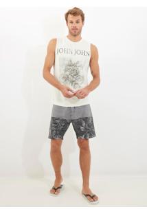 Bermuda John John D'Água Grayscale Beachwear Estampado Masculina (Estampado, 36)