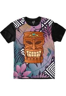 Camiseta Long Beach Totem Floral Força Sublimada - Masculino-Roxo