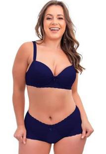 Conjunto De Calcinha E Sutiã Sigh Plus Size Renda Feminino - Feminino-Azul Escuro