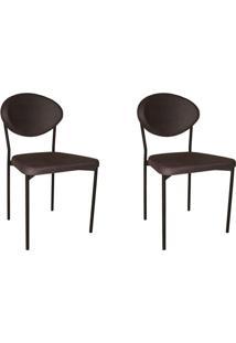 Conjunto Com 2 Cadeiras De Cozinha Bella Veludo Grafite
