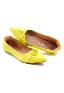 Sapatilha Confort - Enfeite De Nó - Camurça Amarela Amarelo