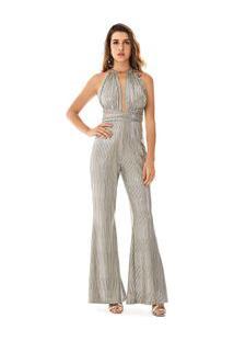 Macacao Longo Pantalona Abertura Decote Prata