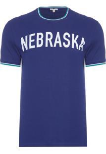 Camiseta Masculina Manga Curta Estampa Nebraska - Azul Marinho