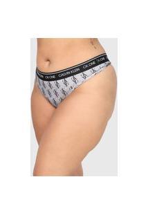 Calcinha Calvin Klein Underwear Plus Size Fio Dental Logo Cinza/Preta