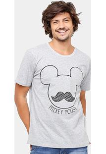 Camiseta Disney Mickey Bigode Masculina - Masculino-Mescla