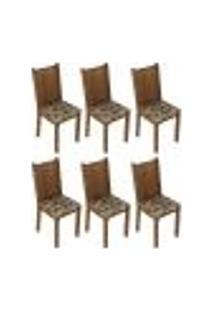 Kit 6 Cadeiras 4290 Madesa - Rustic/Bege Marrom