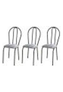 Kit 03 Cadeiras Tubular Cromo Preto 004 Assento Linho