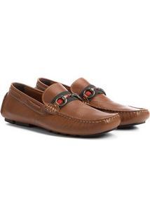 Mocassim Couro Shoestock Gorgurão Ferragem Masculino - Masculino