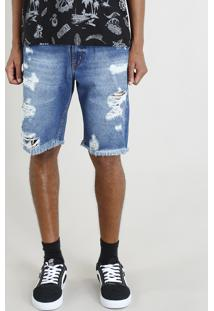 Bermuda Jeans Masculina Destroyed Azul Escuro