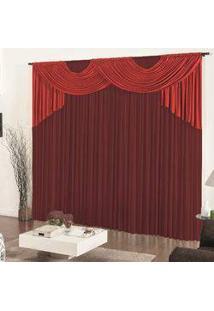 Cortina Casa Dona Esmeralda Vermelho Com Vinho 300X280Cm