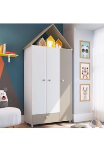 Guarda-Roupa Infantil 3 Portas 1 Gaveta Ch040 Branco - Art In Móveis