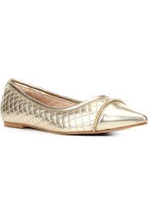 Sapatilha Shoestock Bico Fino Matelassê Corrente Feminina - Feminino-Dourado