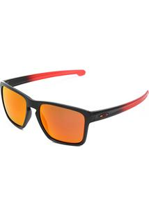Óculos De Sol Oakley Sliver Xl Masculino - Masculino-Preto+Vermelho