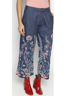 24b6e795b6 ... Jeans Pantacourt Floral - Azul   Rosa - Colccicolcci