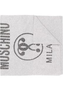 Moschino Cachecol Com Logo - Cinza