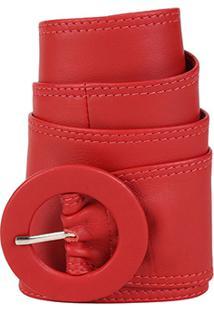 Cinto Couro Shoestock Faixa Feminino - Feminino-Vermelho
