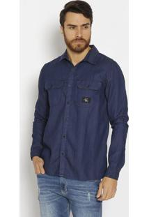 Camisa Jeans Com Bolsos - Azul Escuro & Pretacalvin Klein