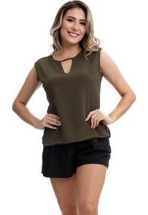 Blusa Clara Arruda Decote Recorte 20336 - Feminino-Verde Militar
