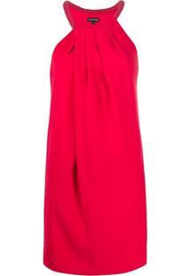 Emporio Armani Vestido Reto Com Detalhe De Contas Na Gola - Vermelho