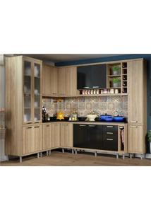 Cozinha Completa Multimóveis Com 11 Peças Sicília 5805 Argila/Preto