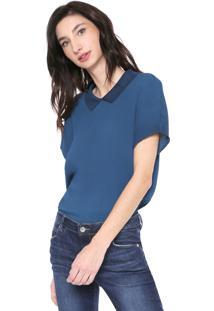 Camisa Lacoste Plissada Azul