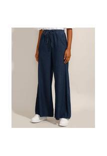 Calça Wide Pantalona Jeans Com Cordão Cintura Super Alta Azul Escuro