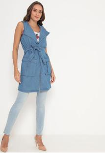 Colete Alongado Jeans- Azul- My Favorite Thingsmy Favorite Things