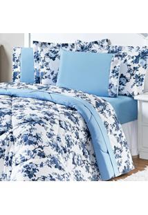 Jogo De Cama Enxovais Aquarela Queen 4 Peças Azul Floral Murano