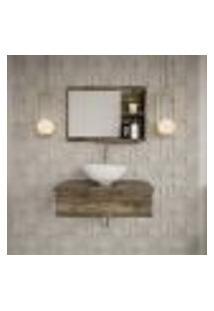 Conjunto Para Banheiro Bancada Com Espelheira City 602 Carvalho Dark