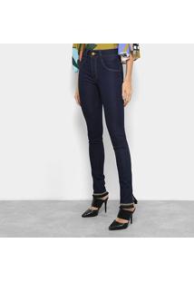 Calça Jeans Reta Biotipo Fendas Barra Detalhe Étnico Cintura Média Feminina - Feminino-Azul Escuro