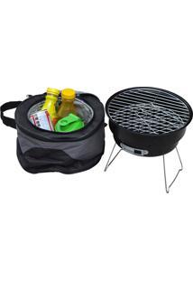 Mini Churrasqueira Grill Portátil Com Bolsa Térmica - Prana - Preto