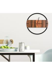 Relógio De Parede Decorativo Premium Slim Preto Ônix Com Detalhe Amadeirado Em Relevo Médio
