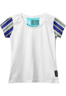 Camiseta Baby Look Feminina Algodão Listrada Manga Curta - Feminino