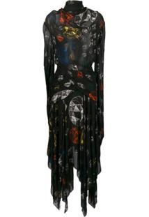 Christopher Kane Vestido Estampado Drapeado - Preto