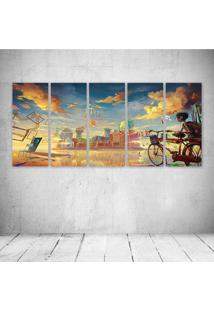 Quadro Decorativo - I Love Art Young Boy Outside The City - Composto De 5 Quadros