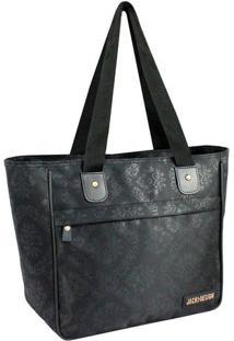 Bolsa Shopper Arabescos- Preta- 26X29X14,5Cm- Jajacki Design
