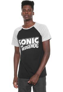 Camiseta Tectoy Raglan Sonic The Hedgehog Authentic Preta/Cinza